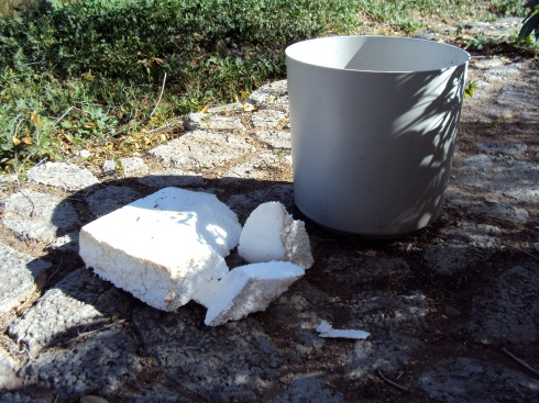 Styrofoam is more lightweight than the rocks your Grandma uses